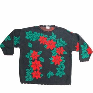 Holiday time Poinsettia black red knit sweater